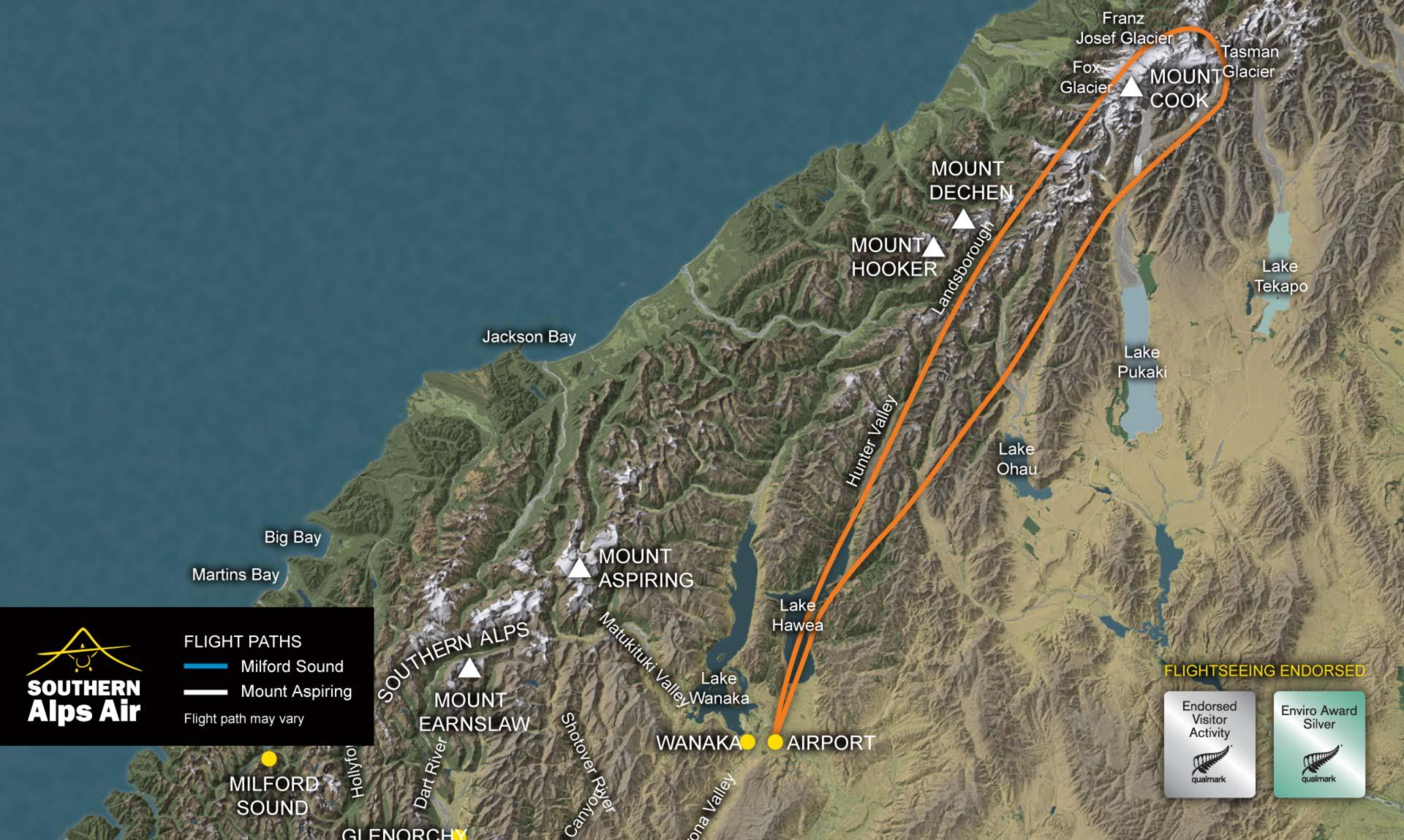 Mt Cook Flight Map
