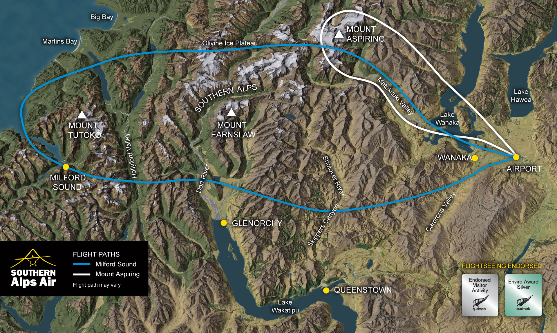 Milford Sound Mt Aspiring Flight Map