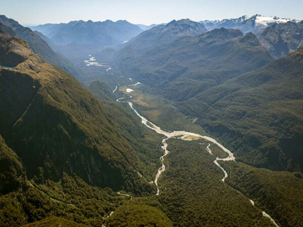 views over fiordland national park on scenic flight to milford sound with southern alps air from wanaka